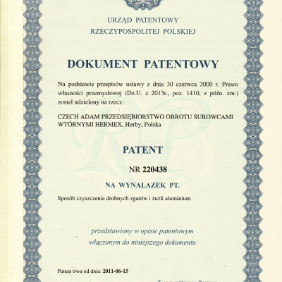 Patent sposób czyszczenia
