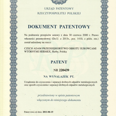 Patent for cleaning equipment